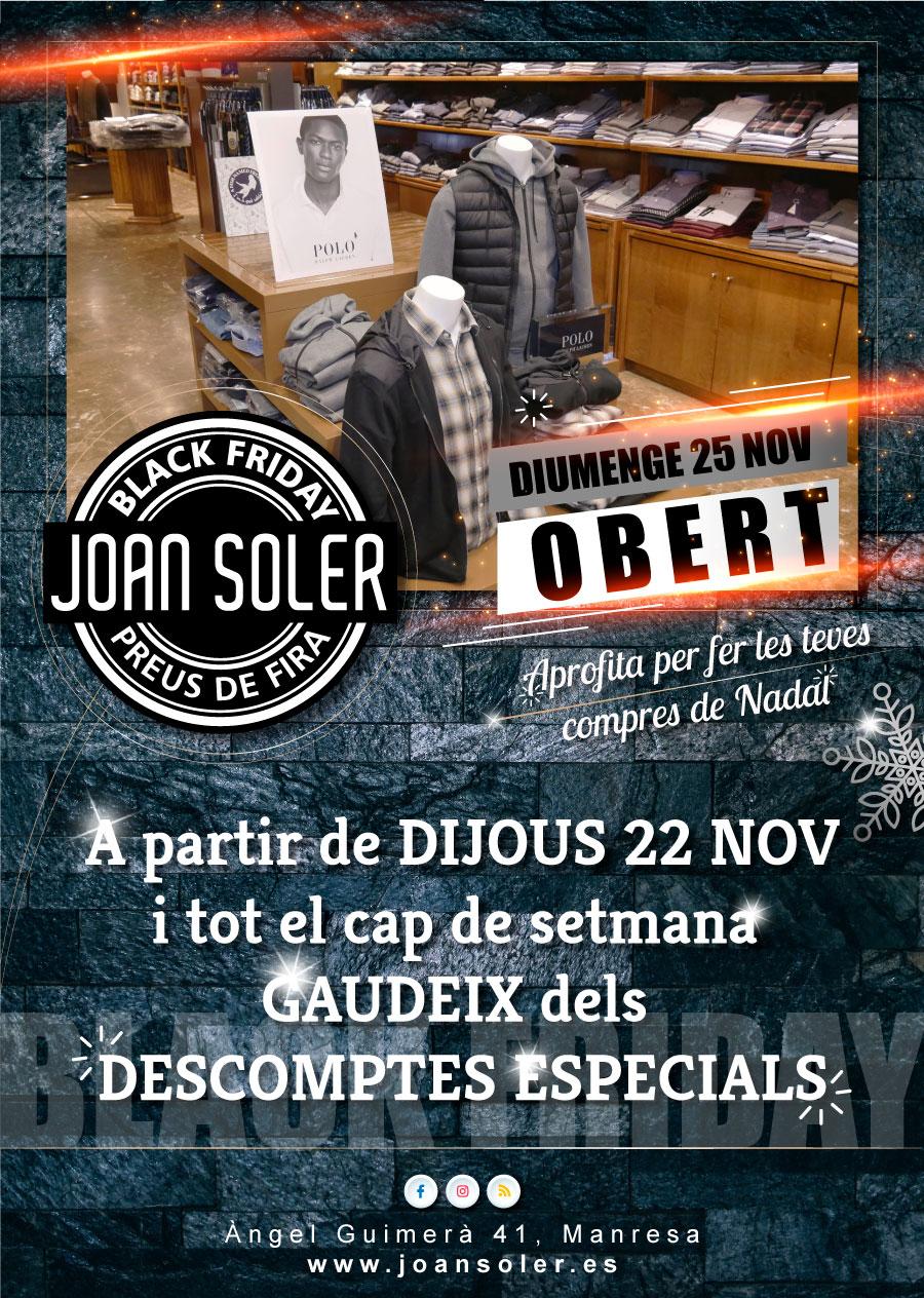 Cap de setmana de descomptes especial BLACK FRIDAY a Joan Soler